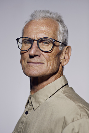 Portrait of cool mature man looking in camera - gettyimageskorea