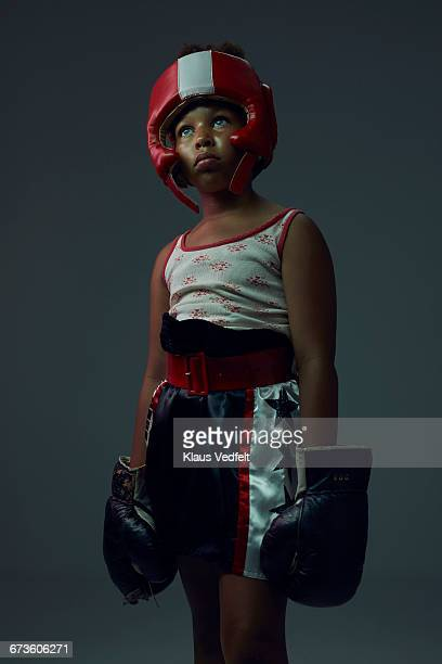 portrait of cool young female boxer - boxing sport stock pictures, royalty-free photos & images