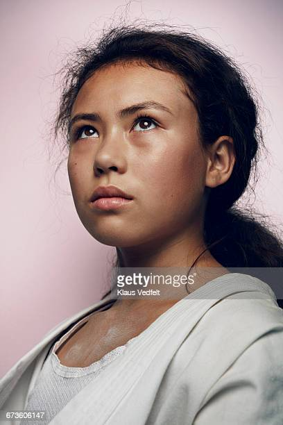 portrait of cool young female martial arts athlete - forward athlete stock pictures, royalty-free photos & images