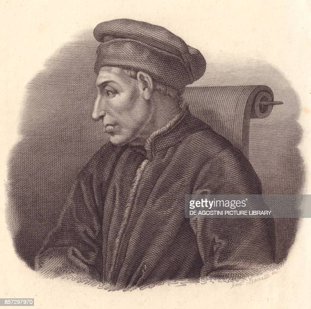 Portrait of Cosimo di Giovanni de' Medici also known as the Elder or Pater patriae copper engraving by G Bassatti from a painting by Pontormo from...