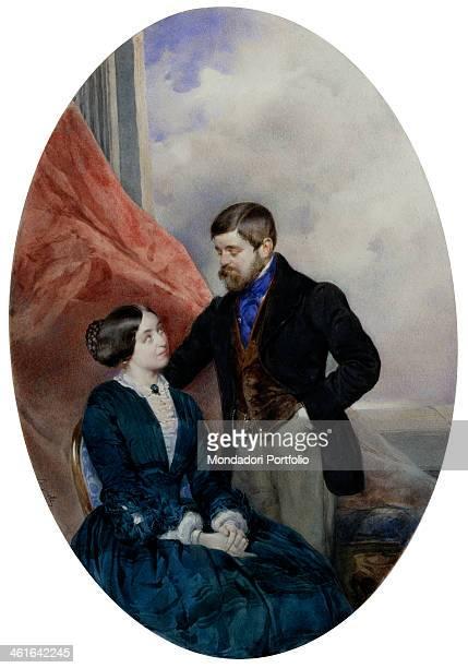 Portrait of count Lodovico and countess Amalia Barbiano di Belgiojoso d'Este by Antonio Bignoli 19th century watercolor on white paper Italy Lombardy...