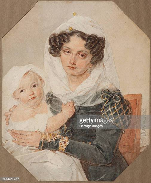 Portrait of Countess Maria Nikolayevna Volkonskaya with son Nikolay, 1826. Found in the collection of State Museum of A.S. Pushkin, Moscow. Artist :...