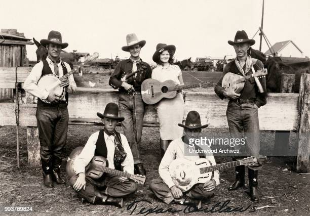 Portrait of Country music group Jack LeFevre and His Texas Outlaws band Los Angeles California circa 1933 The band is identified only as standing...
