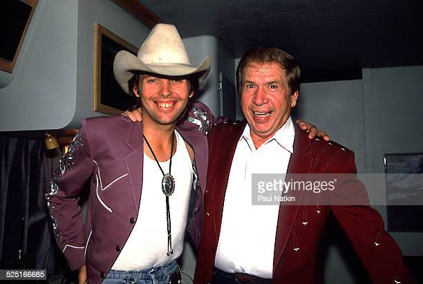 Portrait of country musicians Dwight Yoakam and Buck Owens at the Chicago Theater, Chicago, Illinois, August 5, 1988.