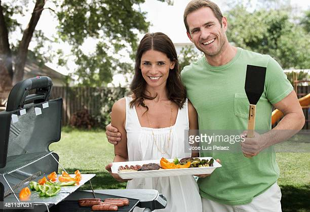 Portrait of couple at the grill