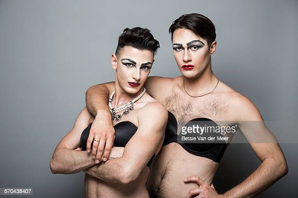 portrait of couple cross dressed. - drag queen stock pictures, royalty-free photos & images
