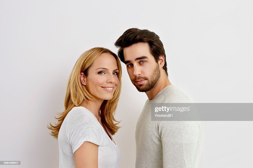 portrait of couple in front of white background ストックフォト