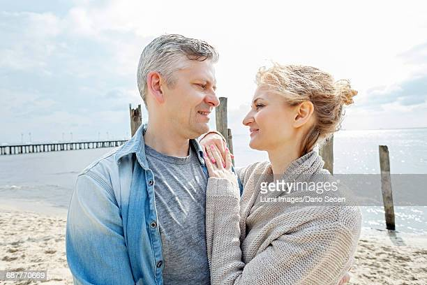 Portrait of couple in love on beach