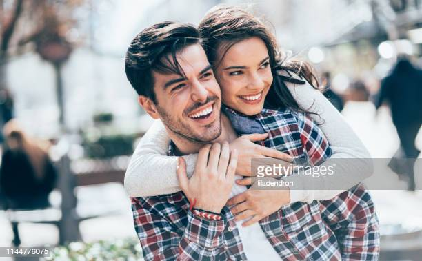 portrait of couple in love - cute stock pictures, royalty-free photos & images