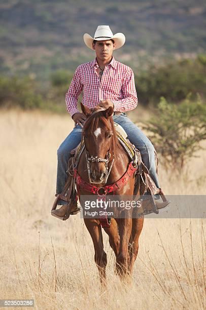 portrait of cowboy riding horse - hugh sitton bildbanksfoton och bilder