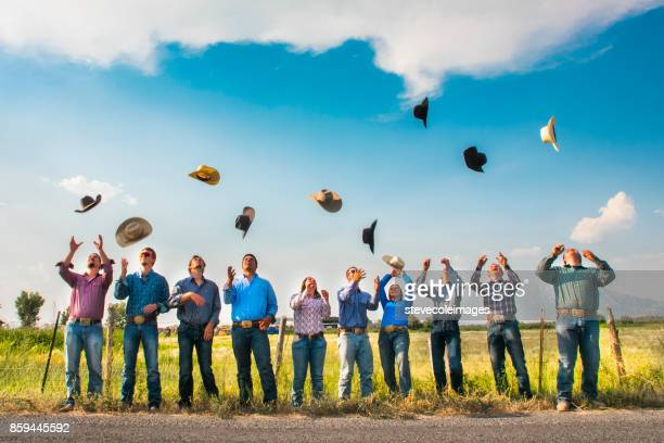 portrait of cowboys and cowgirls - cowboy hat stock pictures, royalty-free photos & images