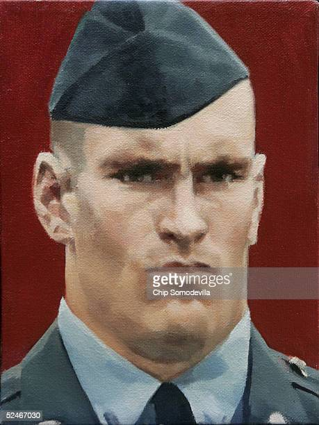 A portrait of Cpl Patrick D Tillman of Chandler Arizona by artist Natasha Mokina is displayed as part of the Faces of the Fallen America's Artists...