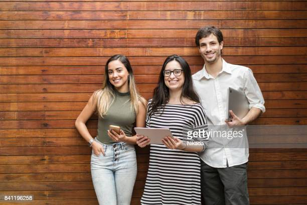 portrait of creative business people in brazil - three people stock pictures, royalty-free photos & images