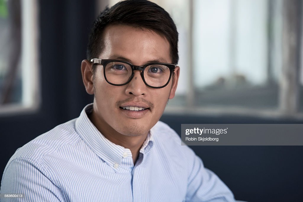 Portrait of creative Man with glasses : Stock Photo