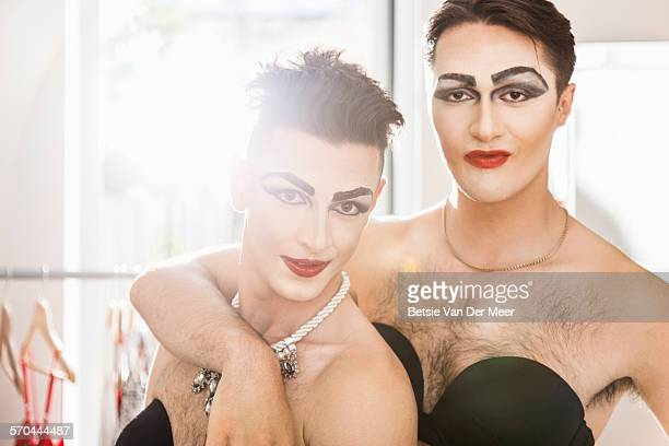 portrait of  cross dressers couple. - couples making passionate love stock pictures, royalty-free photos & images