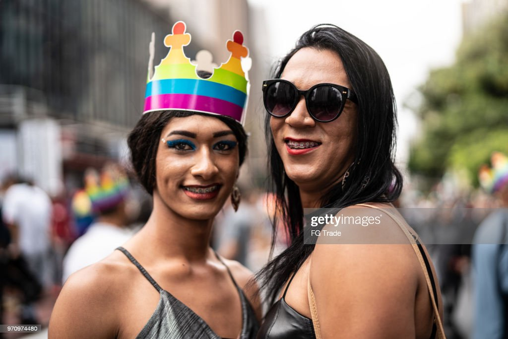 Portrait of Cross Dressing Friends in Gay Pride Parade : Stock Photo