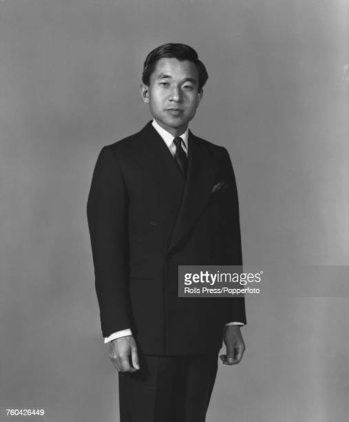 Portrait of Crown Prince Akihito posed wearing a formal suit in Japan in October 1971