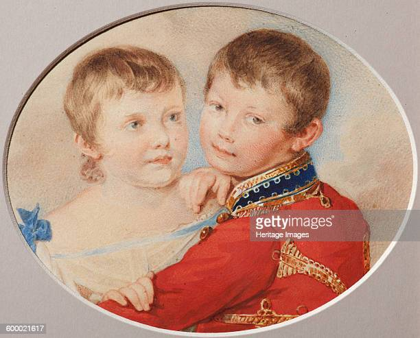 Portrait of Crown prince Alexander Nikolayevich and Grand Duchess Maria Nikolaevna as Children 1825 Found in the collection of State Museum of AS...