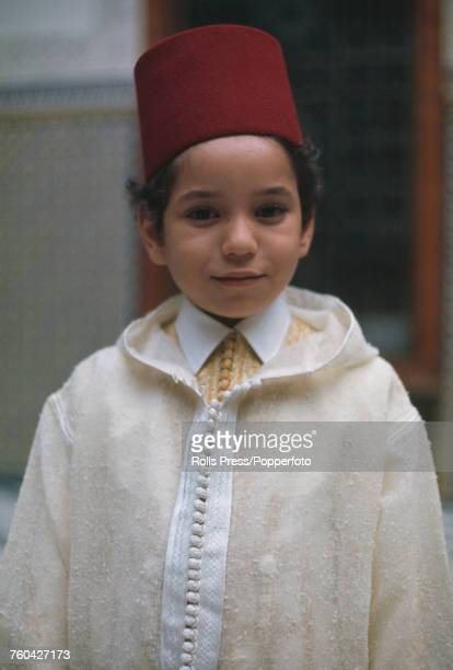 Portrait of Crown Prince Mohammed posed wearing a fez hat in Morocco in June 1971