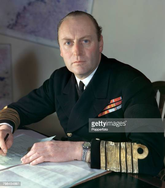 Portrait of Crown Prince Olav of Norway later Olav V of Norway pictured in naval uniform in his position as an admiral in the Royal Norwegian Navy in...