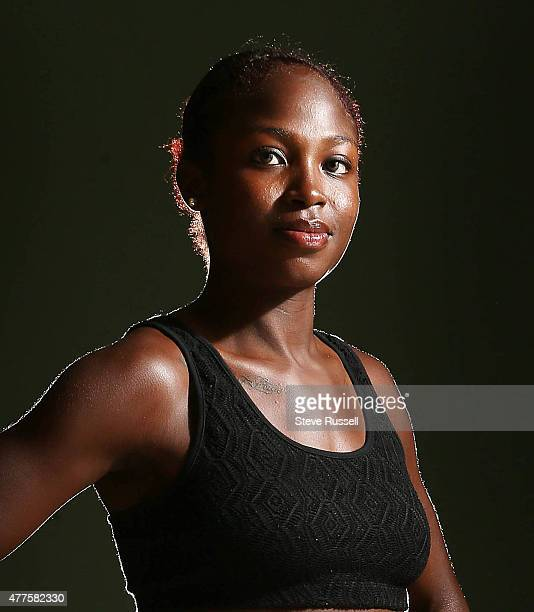 BASSETERRE JANUARY 15 Portrait of Crystal Emmanuel The Canadian Sprint group attends a training camp at Kim Collins Athletics Stadium in Basseterre...