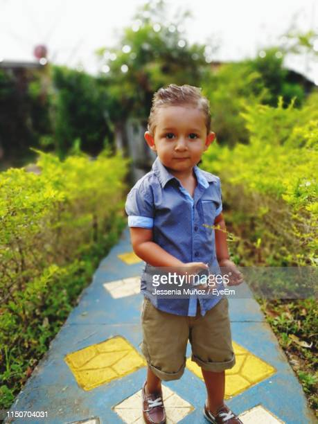 portrait of cute boy standing on footpath - jessenia stock pictures, royalty-free photos & images