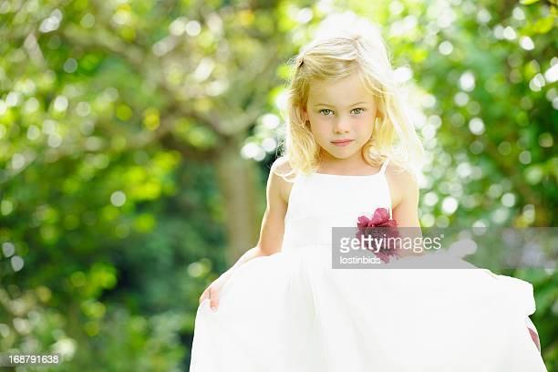 Portrait Of  Cute Caucasian Little Girl/ Bridesmaid In The Garden