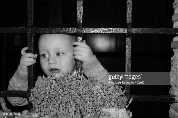 portrait of cute girl looking away against building - child behind bars stock pictures, royalty-free photos & images