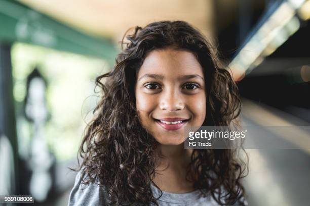 portrait of cute girl - pre adolescent child stock pictures, royalty-free photos & images