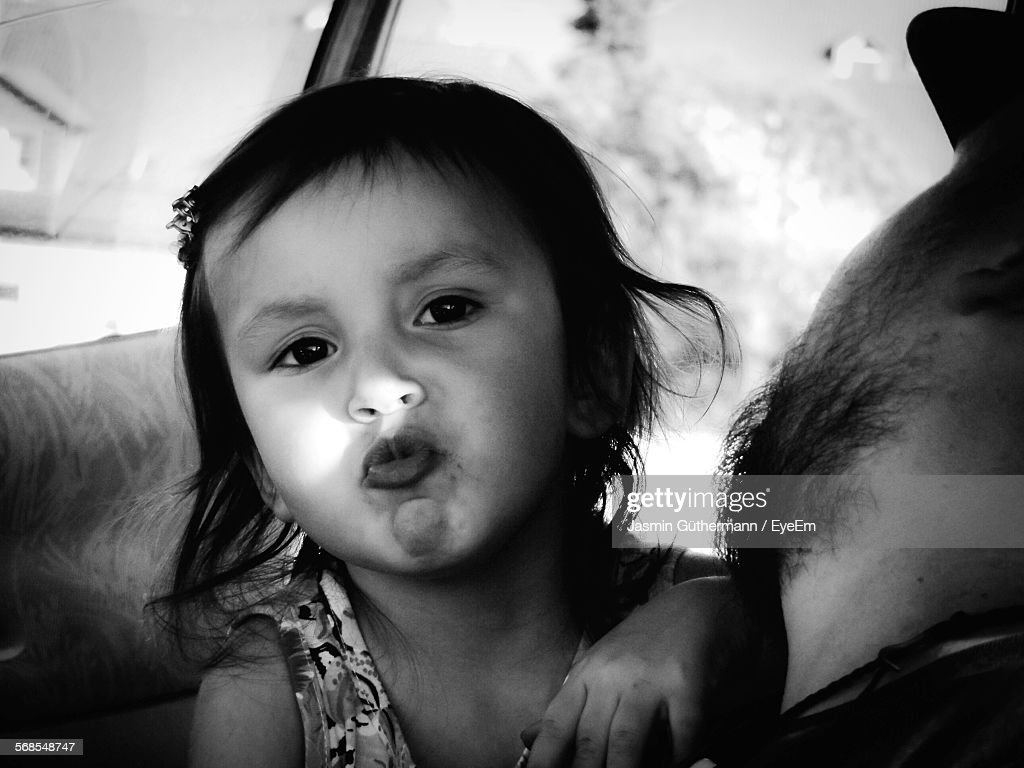 Portrait Of Cute Girl With Father : Stock Photo