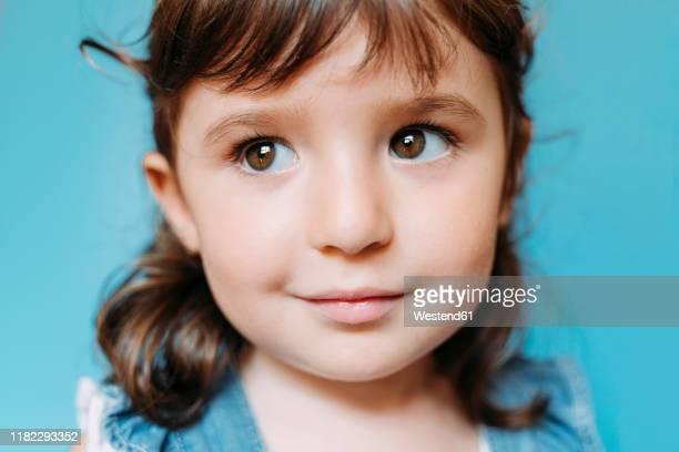 portrait of cute little girl, blue background - 茶髪 ストックフォトと画像
