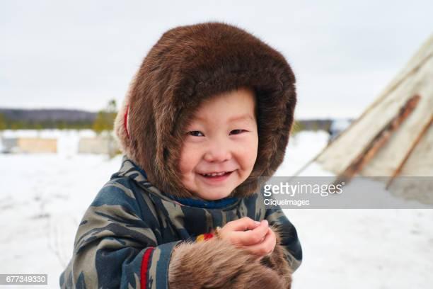 Portrait of cute Nenets kid