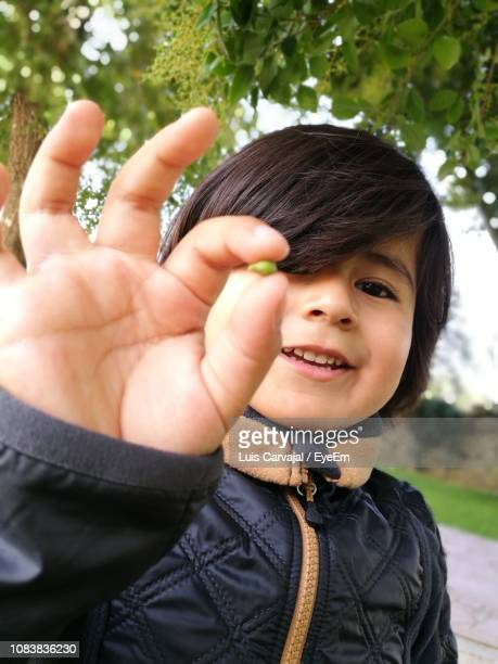 portrait of cute smiling boy holding seed - carvajal stock photos and pictures