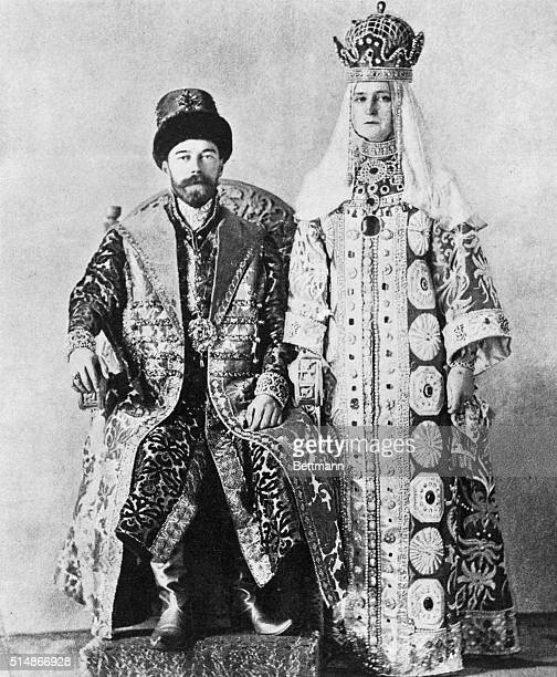 Portrait of Czar Nicholas II and Czarina in court robes Undated photograph