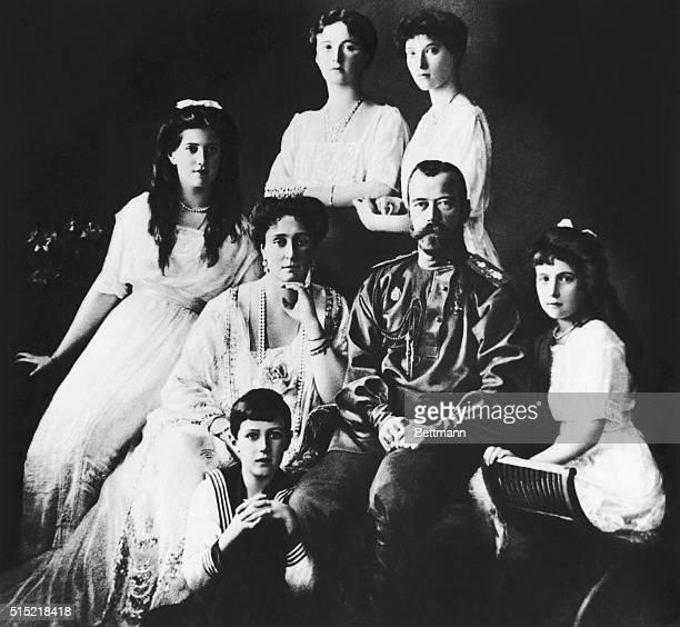 Portrait of Czar Nicholas II and his family: Empress Alexandra, Prince Alexis, and the princesses Tatiana, Anastasia, Olga, and Maria. Photograph,...