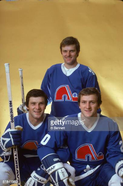 Portrait of Czech ice hockey playing brothers Peter Stastny Marian Stastny and Anton Stastny of the Quebec Nordiques October 1981