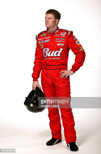 Portrait of Dale Earnhardt Jr driver of the DEI Budweiser Chevrolet during Media Day at the NASCAR Nextel Cup Daytona 500 on February 10 2005 at the...