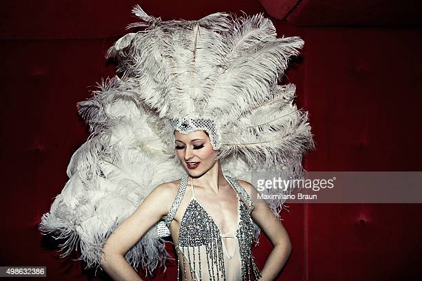 Portrait of dance troupe Cabaret Rouge leader Katie Derry in the backstage area of Cafe de Paris Every Saturday night Cafe de Paris hosts the Wam Bam...