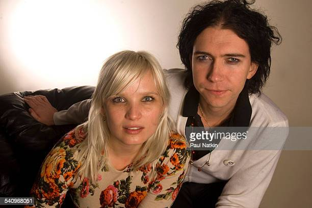 Portrait of Danish rock group the Raveonettes as they pose backstage at the Allstate Arena Chicago Illinois November 29 2005 Pictured are from left...