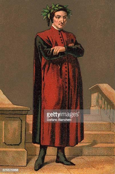 Portrait of Dante Alighieri Italian poet Chromolithography Private collection