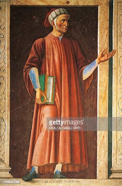 Portrait of Dante Alighieri Italian poet Fresco transferred to canvas by Andrea del Castagno 247x153 cm Florence Galleria Degli Uffizi