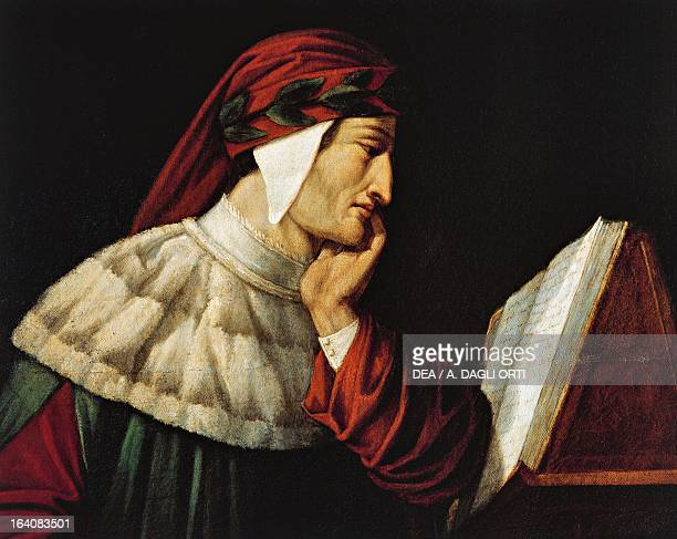Portrait of Dante Alighieri Painting by Attilio Roncaldier Ravenna Museo Dantesco