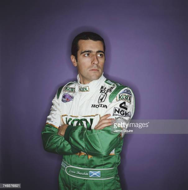 A portrait of Dario Franchitti of Great Britain driver of the Team KOOL Green Reynard 02i Honda HRK during testing for the Championship Auto Racing...