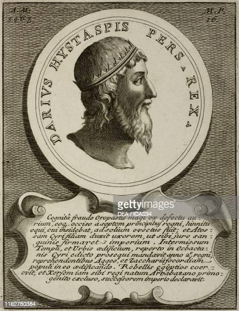 Portrait of Darius the Great or Darius I , King of Persia, engraving from Epitome historico-chronologica gestorum omnium patriarcharum, ducum,...