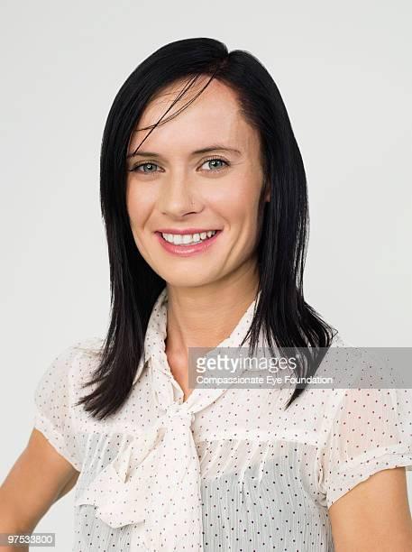 Portrait of dark haired woman