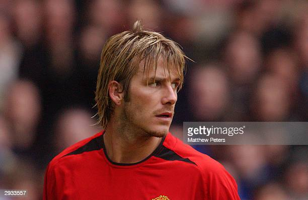 A portrait of David Beckham during the FA Cup 4th Round match between Manchester United v West Ham United at Old Trafford on January 26 2003 on...