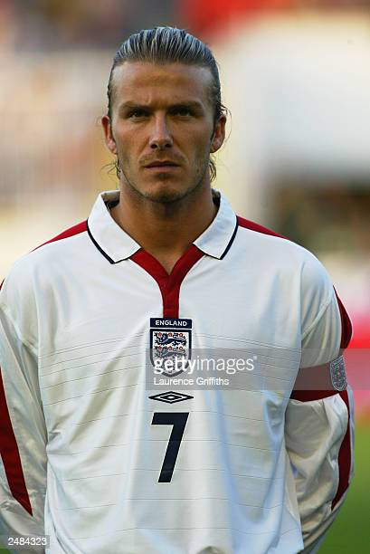 A portrait of David Beckham of England during the team lineup during the Euro 2004 group 7 qualifying match between Macedonia and England on...