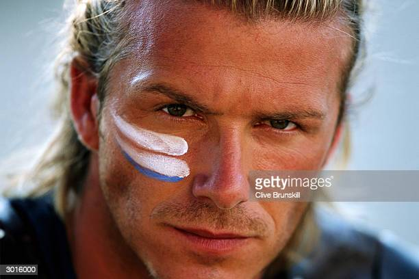 Portrait of David Beckham taken during the making of the Pepsi football commercial 'Pepsi Foot Battle' held on July 4, 2003 in Madrid, Spain.