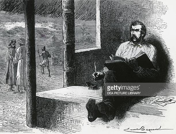 Portrait of David Livingstone British missionary explorer and physician writing in his diary