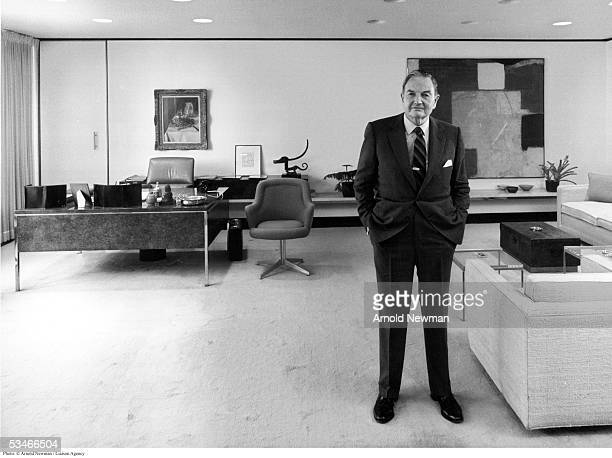 Portrait of David Rockefeller American financier and banker April 3 1981 in New York City